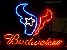 """NFL HOUSTON TEXANS BUDWEISER BEER BAR CLUB NEON LIGHT SIGN (16"""" X 15"""") - Free Shipping Worldwide  ~ Voltage: 100-240v UL Transformers from NeonPro - Workable in all countries - US, UK, Canada, Japan, Australia, European Countries, & Others.  ~ Payment: Paypal / Credit Cards / Western Union.  ~ Delivery Time: 9-15 days to USA/Canada/Japan/Australia/Asian Countries; 12-18 days to European Countries/South American Countries; via a USPS/Hongkongpost/Canadapost tracking number, directly shipped…"""