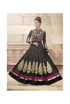 Dark Black Net Anarkali Suit - Glowindian