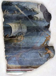 Villa di Catullo (Roman fresco)  Landscape of a fishing scene