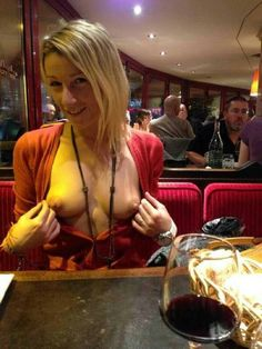 At restaurant woman Nude