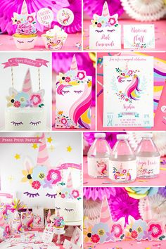 Bring delight to a little girl and decorate your unicorn party like a pro with this amazing set of unicorn party printables! Unicorn Party, birthday party, DIY, party ideas, theme, cake topper, invitation, favors, centerpieces, Printables, decorations, unicorn backdrop, kids. #unicornparty