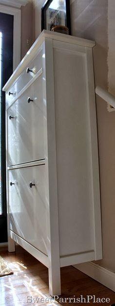 IKEA Hemnes shoe cabinet in a split level entry way.