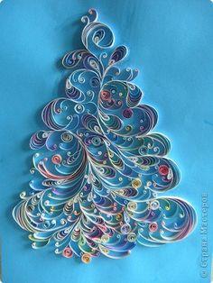 Картина панно рисунок Квиллинг зимняя елка Бумага
