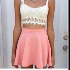 Lace crop top and skirt