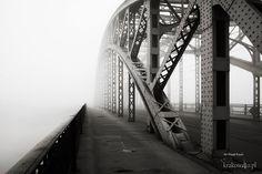 most Piłsudskiego zatopiony we wiosennej mgle
