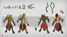 ArtStation - Set of characters, Eugene Kopalov Armor Concept, Concept Art, Red Knight, 2d Character, Anubis, Creature Design, Digimon, Cool Art, Sci Fi