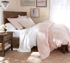 Add blush pillows to a reclaimed wood bed frame for a rustic chic styled bedroom. A rustic bed is perfect farmhouse decor for the master bedroom. Buy this Paulsen Reclaimed Wood Bed at Pottery Barn. Bedroom Furniture, Home Furniture, Bedroom Decor, Bedroom Ideas, Bedroom Inspo, Dark Furniture, Outdoor Furniture, Classic Furniture, Cozy Bedroom