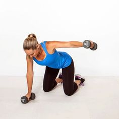 The Sexy Back Workout - 8 moves to banish bra bulge, back pain, and bad posture.  By Jessica Smith. Straight-Leg Deadlift  - Split Stance Extension - Alternating Dumbbell Row - Bow and Arrow - Kneeling Rear Fly - Opposite Arm and Leg Balance - Spine Extensions - Full-Body Bridge