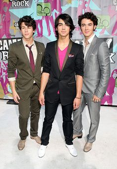"(L-R) Musicians Nick Jonas, Joe Jonas, and Kevin Jonas of The Jonas Brothers attend the premiere of ""Camp Rock"" on June 11, 2008 in New York."