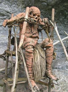 Smoked corpse. The kuku kuku tribe. Papua New Guinea
