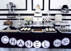 This Chanel No 5 Dessert Table is a wonderful way to  celebrate 40th Birthday Party Ideas