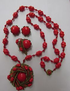 Vintage MIRIAM HASKELL Amazing Red Necklace Brooch & Earring Set #MiriamHaskell