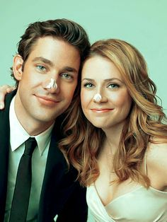 John Krasinski and Jenna Fischer, The Office couple - adorable yes A Guy Who, My Guy, Jim Pam, Jim Halpert, My Champion, Hollywood, Having A Crush, The Office, Office Fan