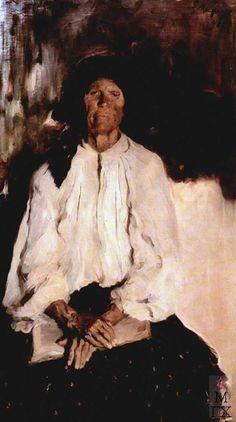 Filipp Andreevich Malyavin (Russian 1869–1940) [Impressionism, Expressionism, Art Nouveau] Portrait of Daria Ivanovna Tatarintseva, 1898.