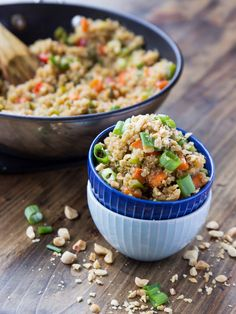 Standard fried rice made healthier and higher protein with superfood quinoa.
