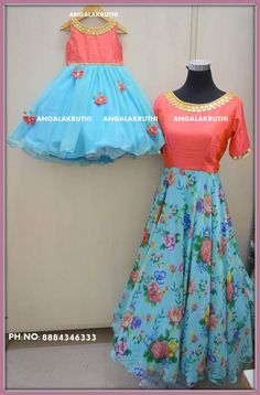 and daughter matching dress designs by Angalakruthi boutique Bangalore Angalakruthi mom n me custom designs Mom Daughter Matching Dresses, Mom And Baby Dresses, Kids Party Wear Dresses, Kids Blouse Designs, Dress Designs, Mother Daughter Fashion, Kids Dress Patterns, Kids Lehenga, Kids Frocks