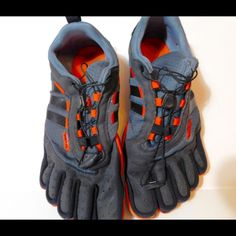Adidas AdiPure Men's barefoot trainers Adidas AdiPure Men's barefoot trainers.  Grey/orange.  These are men's, but can be worn by women too.  Minimal wear, not brand new.  Soles are in excellent condition. Adidas Shoes Sneakers
