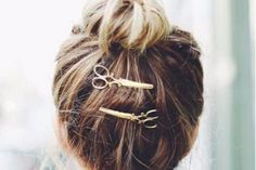 Scissors Hair Jewelry Clips Barrette - Easy Casual Hair Styles for Medium Hair Bun Upda Color and Cuts Ideas at MyBodiArt.com