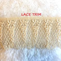 NATURAL~3 Inch Wide Floral Flat Lace Trim~By 10 Yards