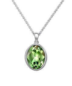 callura Peridot Swarovski® Crystal Oval Pendant Necklace | zulily  . $17.79 $95.00 Product Description:  Cast in a mesmerizing rich hue and enriched with Swarovski® crystals, this pendant necklace completes ensembles with a statement-making pop of shine.      Chain: 16.5'' L     Pendant: 0.95'' L     Rhodium-plated brass / Swarovski® crystal     Imported