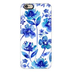 iPhone 6 Plus/6/5/5s/5c Case - Indigo Flowers ($40) ❤ liked on Polyvore featuring accessories, tech accessories, phone cases, iphone case, iphone cover case, slim iphone case, apple iphone cases and flower iphone case