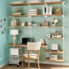 idea for office, I like the full wall bookcase for organizing with a small side desk built in
