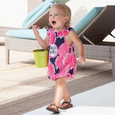 Baby Girls Custom Print Pineapple Initial Abby Bubble