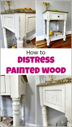 furniture display See how to distress painted wood for a farmhouse finish when you love distressed furniture. You can DIY your own distressed white furniture when distressing chalk paint with these simple steps. via justthewoods Painting Antique Furniture, Distressed Furniture Painting, Paint Furniture, Furniture Projects, Furniture Makeover, Painting On Wood, How To Distress Furniture, Furniture Plans, Furniture Design