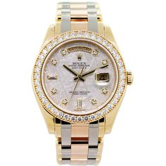 Pre-owned Rolex Tridor Masterpiece Meteorite Dial Diamond Bezel... (4854735 DZD) ❤ liked on Polyvore featuring jewelry, watches, accessories, wrist watches, rolex, preowned watches, white jewelry, engraving watches and yellow dial watches