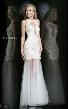 2014 Sherri Hill Sheer Top Prom Dresses 9711 IvoryOutlet