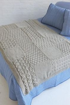Heirloom Afghan Hand Knit Aran Style Sampler Blanket, Handmade and Made to Order, Fisherman's Wool by madameearth for $549.99