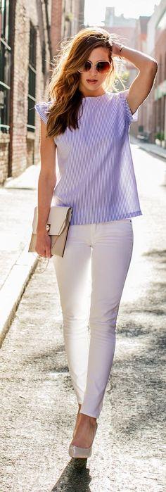Spring fashion | Lilac striped top, white skinnies, heels and handbag