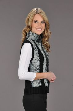 Cotton/Acrylic Knitwear Faux Fur Cable Vest Lined