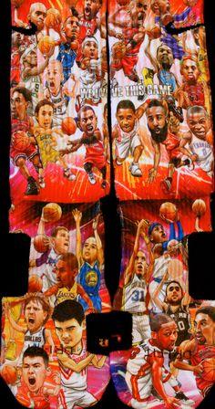 Custom Nike Elites NBA All Star Inspired — Luxury Elites Funky Socks, Crazy Socks, Cool Socks, Nike Heels, Nike Wedges, Sneakers Nike, Adidas Shoes Outlet, Nike Shoes Cheap, Cheap Nike