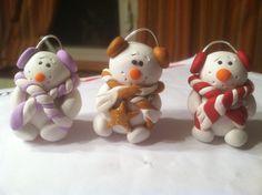 Clay snowman ornament $6 @ http://www.etsy.com/listing/88830691/clay-snowman-ornament