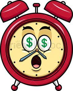 Money Eyes Alarm Clock Emoji: Royalty-free stock vector illustration of a red vintage alarm clock emoji with dollar eyes. Emoji Clipart, Vector Clipart, Alarm Clock Design, Vintage Alarm Clocks, Atc Cards, Smileys, Emoticon, Economics, Royalty
