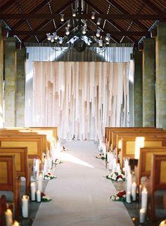 wedding altar of streamers
