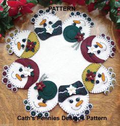 *PATTERN* ~ Snow Ladies ~ Wool Applique Penny Rug Candle Mat *PATTERN* #CathsPenniesDesignsPATTERN
