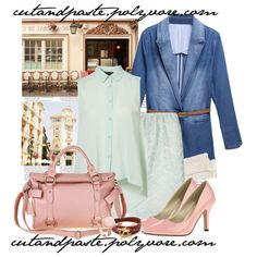 Pastel Spring street style, created by cutandpaste, polyvore, tabithasue, womens fashion, womens style, denim and lace