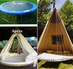 wohnen Transform a trampoline into tipi . Trampolines, Backyard Seating, Backyard Landscaping, Outdoor Spaces, Outdoor Living, Outdoor Decor, Trampoline Swing, Deco Cool, Garden Projects
