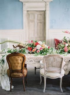 Wild and romantic tablescape and floral centerpiece | Anne Robert Photography | see more on: http://burnettsboards.com/2014/03/dreamy-abandoned-mansion-inspiration-shoot/