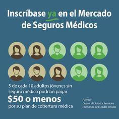 Si eres un adulto joven podrías pagar $50 o menos en #seguromedico. #Asegurate