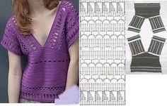Crochet Doilies, Crochet Lace, Stitch Patterns, Crochet Patterns, Crochet Blouse, Crochet Fashion, Crochet Clothes, Hand Stitching, Sewing