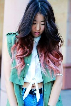 Women's Pink And Black Ombre Hair Extensions - Curly Pink And Black Ombre Hair Extensions
