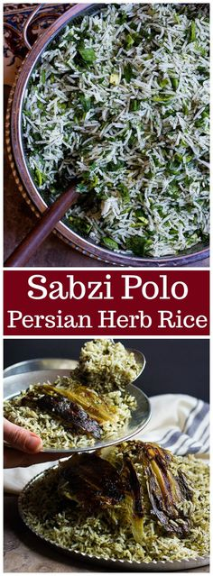 Sabzi Polo (Persian Herb Rice) Unicorns in the Kitchen Middle Eastern Rice, Middle East Food, Middle Eastern Recipes, Middle Eastern Vegetarian Recipes, Canadian Recipes, Iranian Cuisine, Iranian Food, Herb Rice Recipe, Vegetarian Recipes