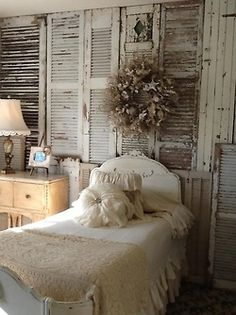✣ French Country Farmhouse ✣  old shutters as headboard