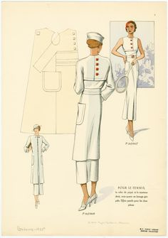 Pour le tennis, la robe de piqué et le manteau droit, trois-quarts en lainage gris pâle.