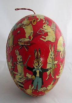 Old German Paper Easter Egg Candy Container Rabbits Band Director Instruments