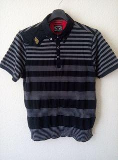 Luke 1977 Black with Grey Stripes Embroidered Logo Polo Shirt Size Medium