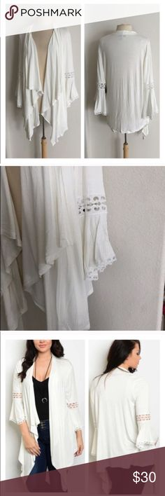 """BLOWOUT! (Plus) White cardigan White cardigan. 97% rayon/ 3% spandex. Extremely soft! Drape front. Length measured at shortest point (longest point is about 5"""" longer) 1x: L 29"""" • 2x: L 30"""" • 3x: L 31"""" ⭐️This item is brand new from manufacturer with tags.  🚫NO TRADES 💲Price is firm unless bundled 💰Ask about bundle discounts Availability: 1x•2x•3x • 2•2•1 Sweaters Cardigans"""